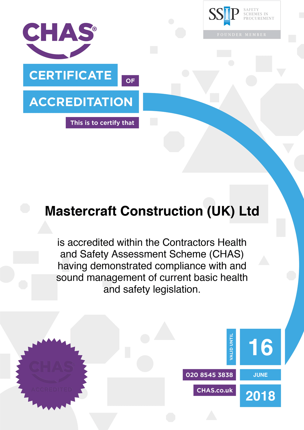 Cover image for CHAS Certificate 2019